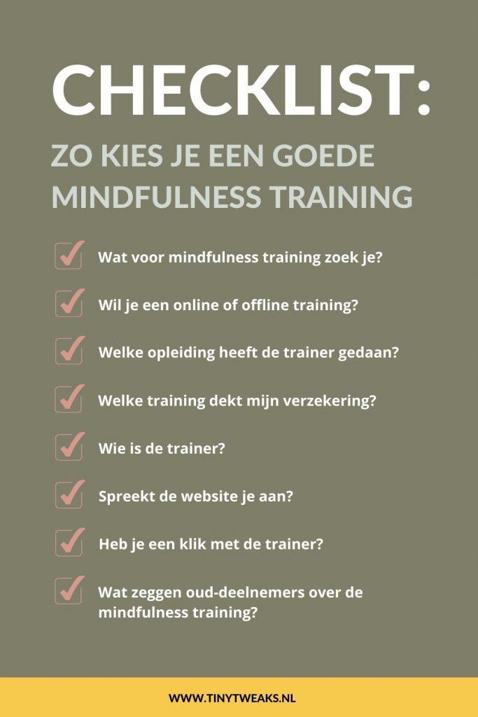 mindfulness training kiezen checklist